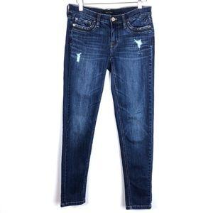 WHBM Distressed Girlfriend Dark Wash Skinny Jeans
